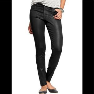 Old Navy Rockstar Mid Rise Coated Black Jeans Sz 2